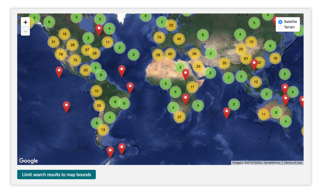 Search results may be viewed on a map and narrowed to specific regions or locations